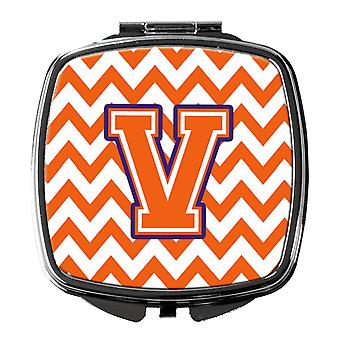Letter V Chevron Orange and Regalia Compact Mirror