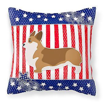 Carolines Treasures  BB3320PW1818 USA Patriotic Corgi Fabric Decorative Pillow