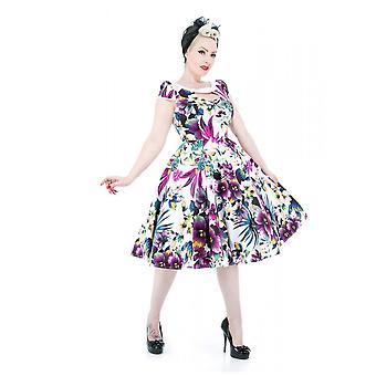 H&R White & Purple Pansies Floral Long Dress