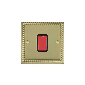 Hamilton Litestat Cheriton Georgian Polished Brass 1g 45A Double Pole Red Rkr/BL