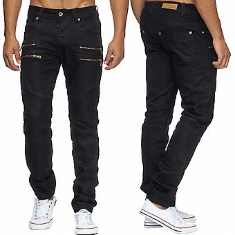 Men's Jeans shiny CLARENCE coated denim black trousers pants