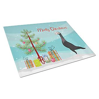 English Carrier Pigeon Christmas Glass Cutting Board Large
