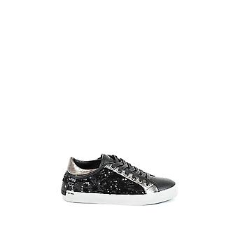 Crime London Damen 2503620 Silber/Schwarz Leder Sneakers