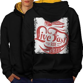 Live Biker Bike Vintage Men Black (Gold Hood)Contrast Hoodie Back | Wellcoda