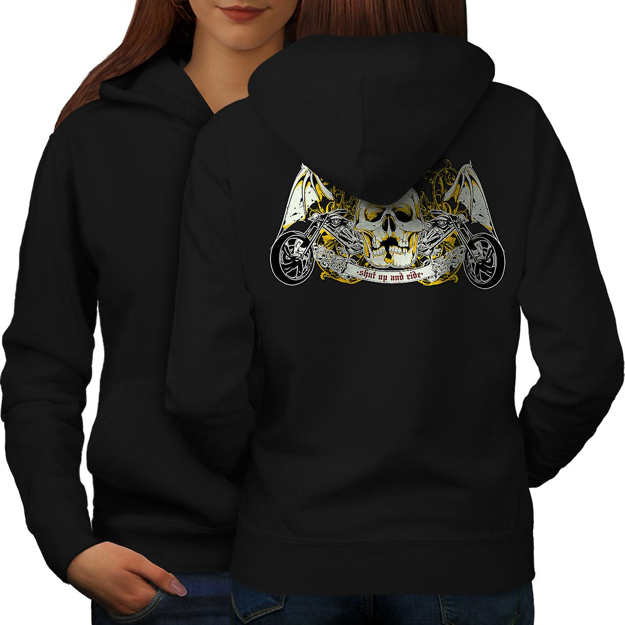 Shut Up Ride Skull Biker femmes noirHoodie dos
