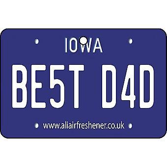 Iowa - Best Dad License Plate Car Air Freshener