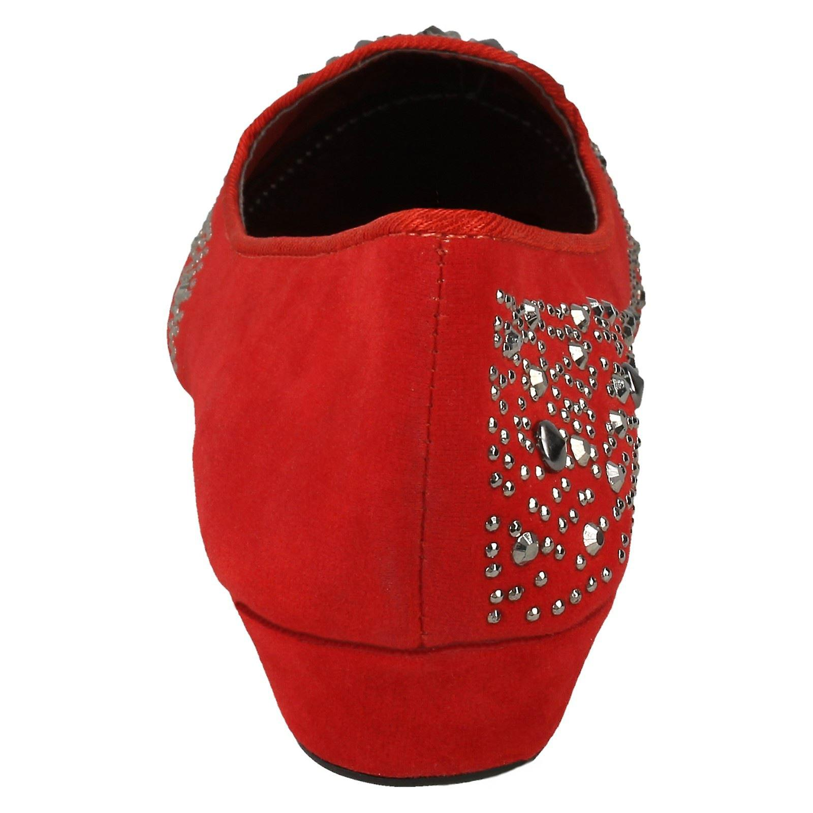 Ladies Spot On Low Wedge Ballerina with Studded Vamp