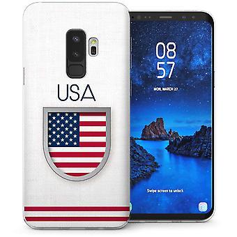 Samsung Galaxy S9 Plus USA voetbal Shield TPU Gel Case – wit