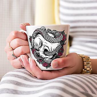 ヘビのローズのクールなスカル ホワイト ティー コーヒー セラミック カフェラテ マグカップ 17 oz |Wellcoda