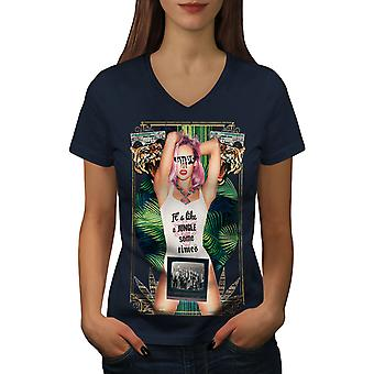 It's Like Jungle Fashion Women NavyV-Neck T-shirt | Wellcoda