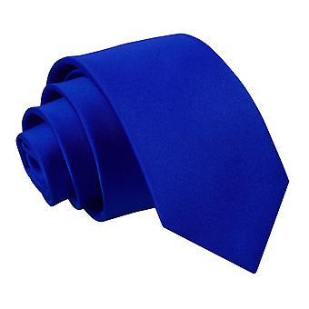 Royal Blue Plain Satin Slim Krawatte