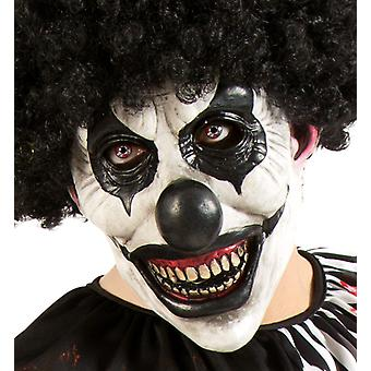Horror clown white black three quarter mask Halloween