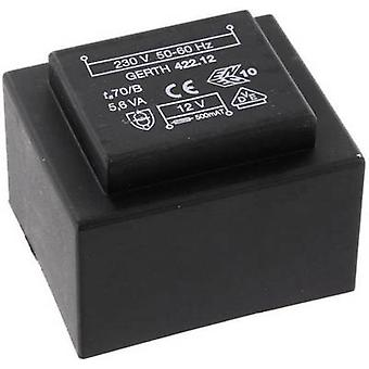 PCB マウント変圧器 1 x 230 V 1 x 12 V AC 5.60 VA 466 mA PTB421201 Gerth
