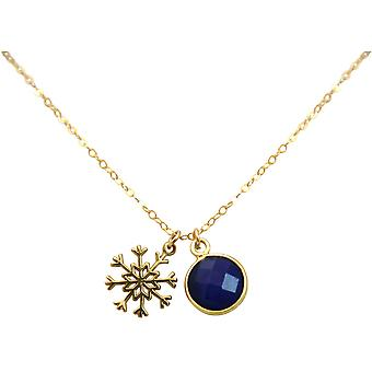 Gemshine - ladies - necklace - pendants - snowflake - 925 Silver - gold plated - sapphire - blue - 1.3 cm