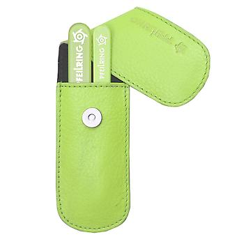 Stylish arrow ring manicure set manicure case nappa leather green with glass nail files and tweezers
