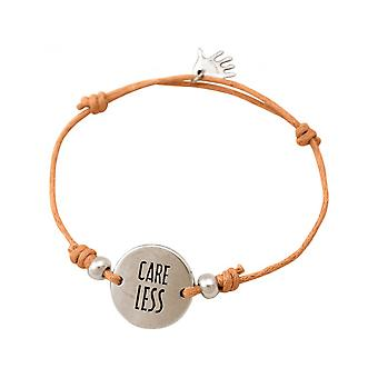 Women - bracelet - engraved - CARE LESS - silver - bright coral - rose