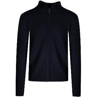 Lagerfeld Lagerfeld Navy Blue Knitted Wool Zip Sweatshirt