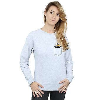 Looney Tunes Women's Daffy Duck Faux Pocket Sweatshirt