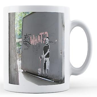 Tryckt mugg med Banksy's, ' vad? Måla pojke 2' konstverk