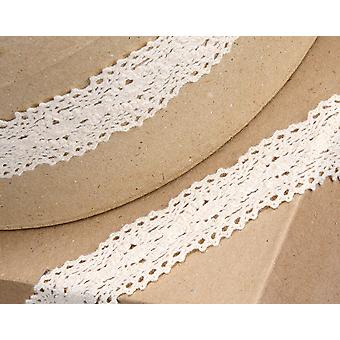 30mm Ivory Vintage Lace Border Ribbon for Craft - 5m | Ribbons & Bows for Crafts