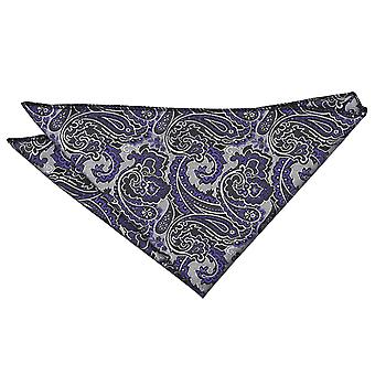Silver & Purple Royal Paisley Pocket Square