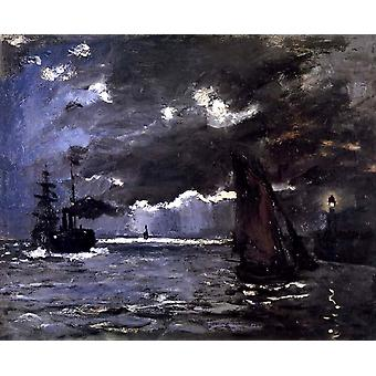 A Seascape,Shipping by Moonlight,Claude Monet,59.5x72.5cm
