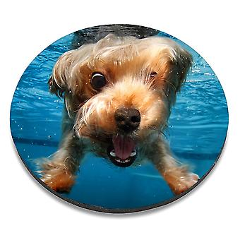 i-Tronixs - Underwater Dog Printed Design Non-Slip Round Mouse Mat for Office / Home / Gaming - 10