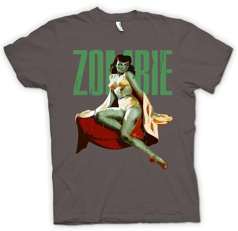 Womens T-shirt - Vintage Zombie Pin Up - Green Lady