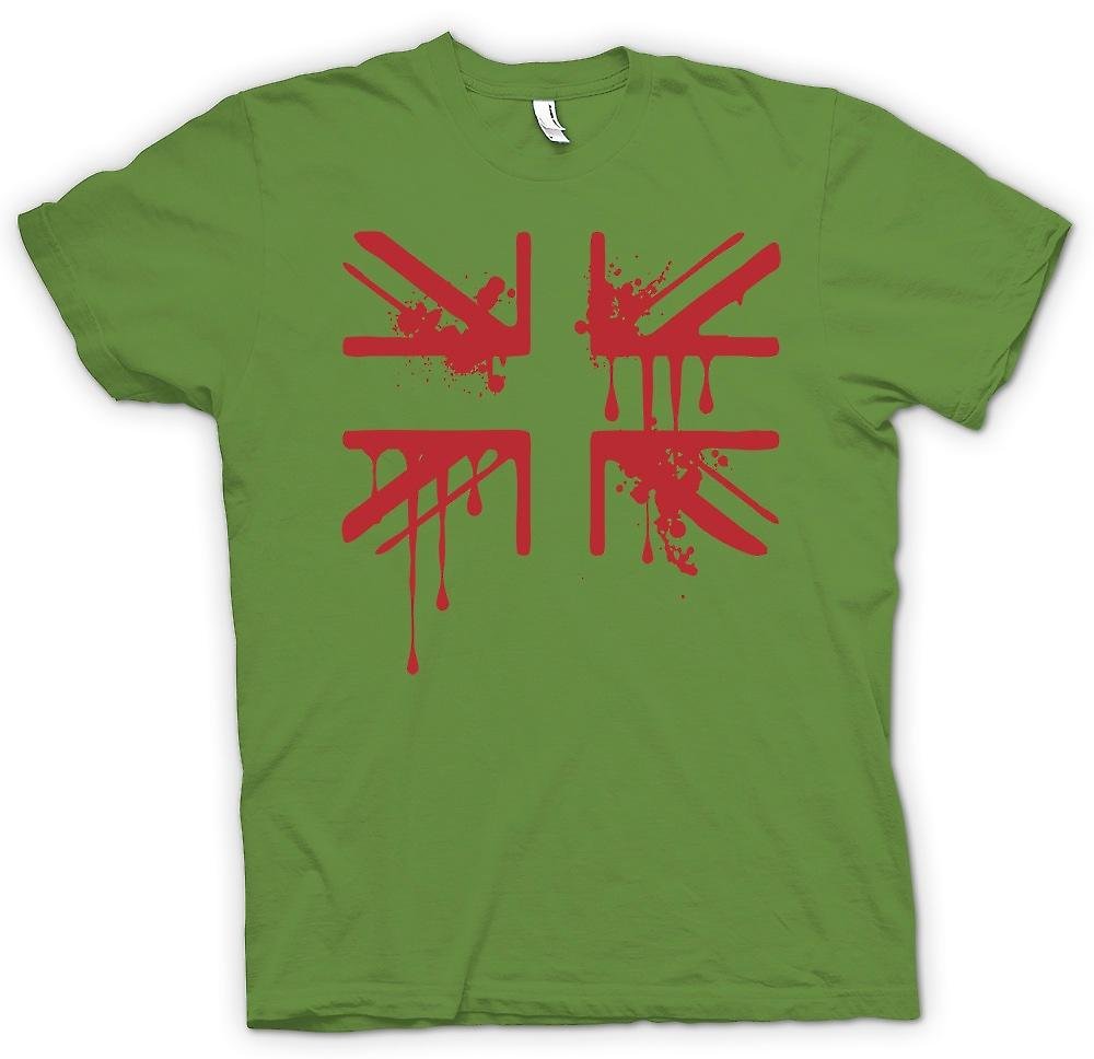 Mens t-shirt-Grunge sangue Union Jack