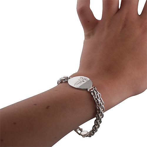 Silver fancy handmade Medical Symbol Bracelet 7½ inches