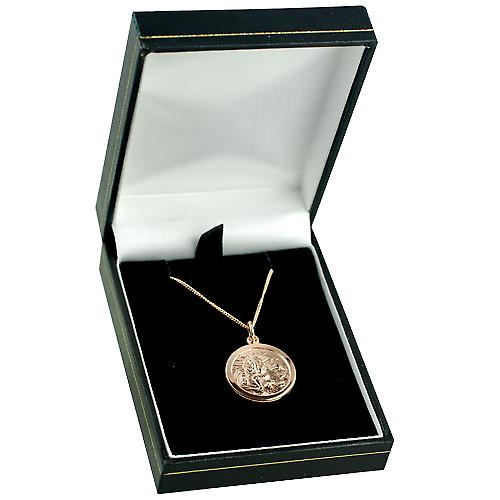 9ct Rose Gold 20mm round St Christopher Pendant with a curb Chain 16 inches Only Suitable for Children