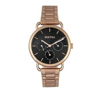 Bertha Gwen Bracelet Watch w/Day/Date - Rose Gold