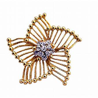 Stylish Trend Gold Brooch Size 2 x 2 with CZ in the Center
