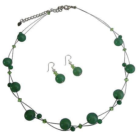 Cheap Wedding Jewelry Bridemaids Green Dress Jewelry Genuine Swarovski Peridot Crystal With Jade Glass Beads Necklace Set