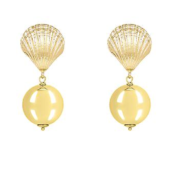 Scallop Shell Large Ball Round Drop Earrings Yellow Gold Big Plain Extra Large