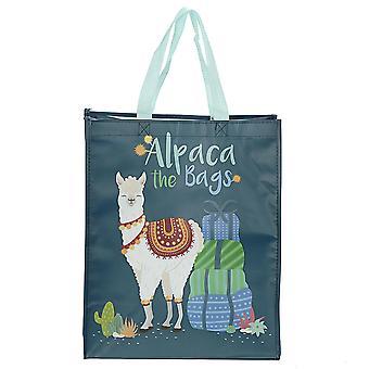 Alpaca Shopper Tasche  dunkelgrün, bedruckt, aus 100 % Polypropylen.