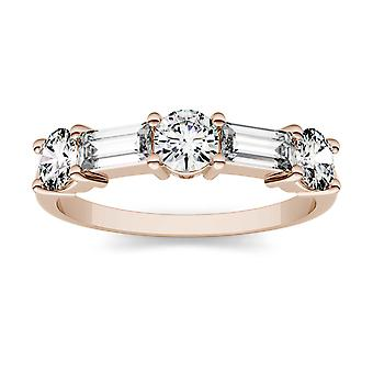 14K Rose Gold Moissanite by Charles & Colvard 5x2mm Straight Baguette Fashion Ring, 1.15cttw DEW