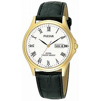 Pulsar Mens analog läderrem PXF292X1 Watch