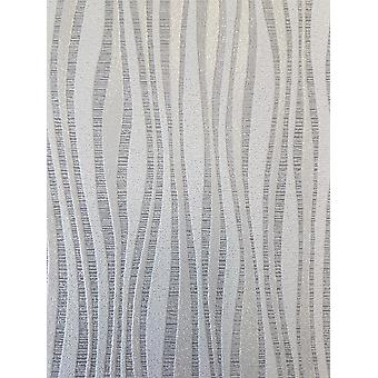 Waves Stripe Grey Glitter Wallpaper Shimmer Sparkle Embossed Paste The Wall P + S