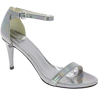 Stuart Weitzman Women's high heel sandals in silver Laminated calf leather
