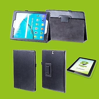 Für Samsung Galaxy Tab S5e 10.5 T720F Hülle Cover Tasche Schwarz Kunst Leder Case Neu + 0,3 mm Hart Glas