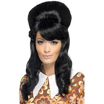 anni 60 Brigitte bouffant parrucca nera