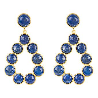 Gemstone Statement Earrings Gold Lapis Lazuli Dark Blue Drop Circle Stud Dangle