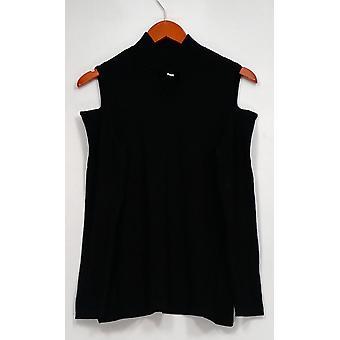 Susan Graver Sweater Rayon Nylon Cold Shoulder Mock Neck Black A297155
