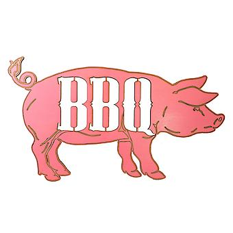 Pink bbq pig sign painted wood 17x10