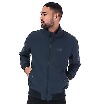 Mens Jack Wolfskin Huntington Jacket In Blue- Zip Fastening- Ribbed Cuffs And
