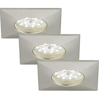 LED bathroom flush mount light 3-piece set 15 W Warm white Briloner 7205-032 Nickel (matt)