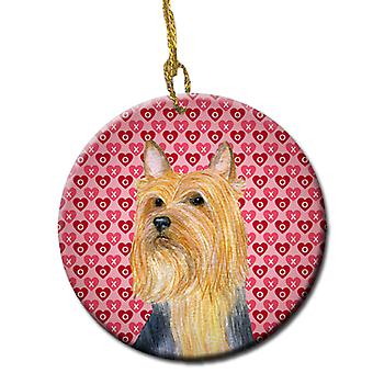 Silky Terrier Valentine's Love and Hearts Ceramic Ornament
