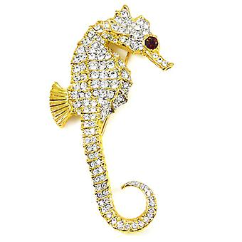 Kenneth Jay Lane Large Crystal & Gold Plated Seahorse Brooch Pin