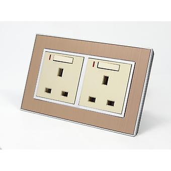 I LumoS AS Luxury Gold Satin Metal Double Switched with Neon Wall Plug 13A UK Sockets